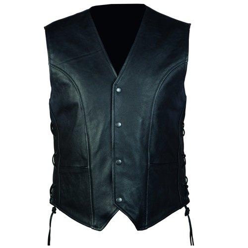 Černá kožená pánská motorkářská vesta Ozone