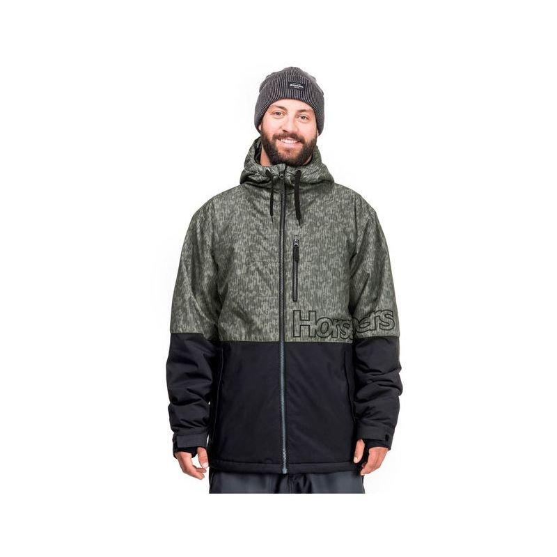 Černo-zelená pánská snowboardová bunda Horsefeathers - velikost S