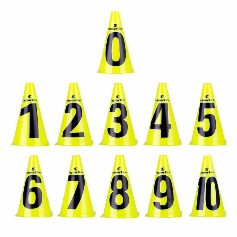 Žlutý tréninkový kužel inSPORTline - 11 ks