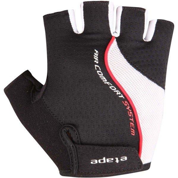 Bílo-černé pánské cyklistické rukavice Etape - velikost M