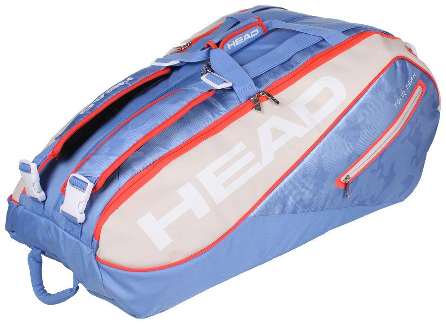 Modro-zelená tenisová taška s popruhy na záda Head