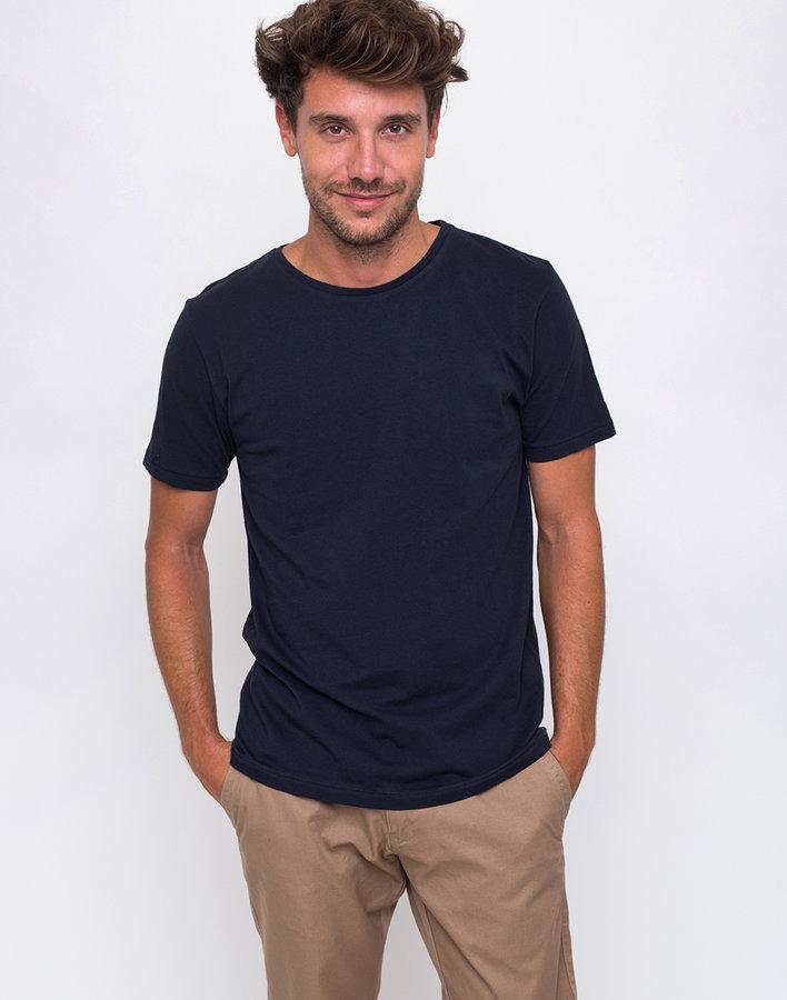 Modré pánské tričko s krátkým rukávem Knowledge Cotton