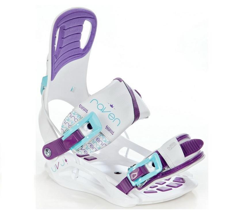 Bílo-fialové vázání na snowboard NOW