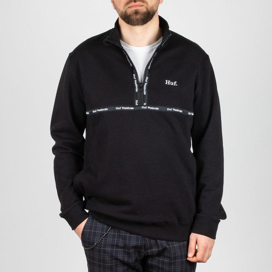 Černá mikina bez kapuce Huf - velikost M