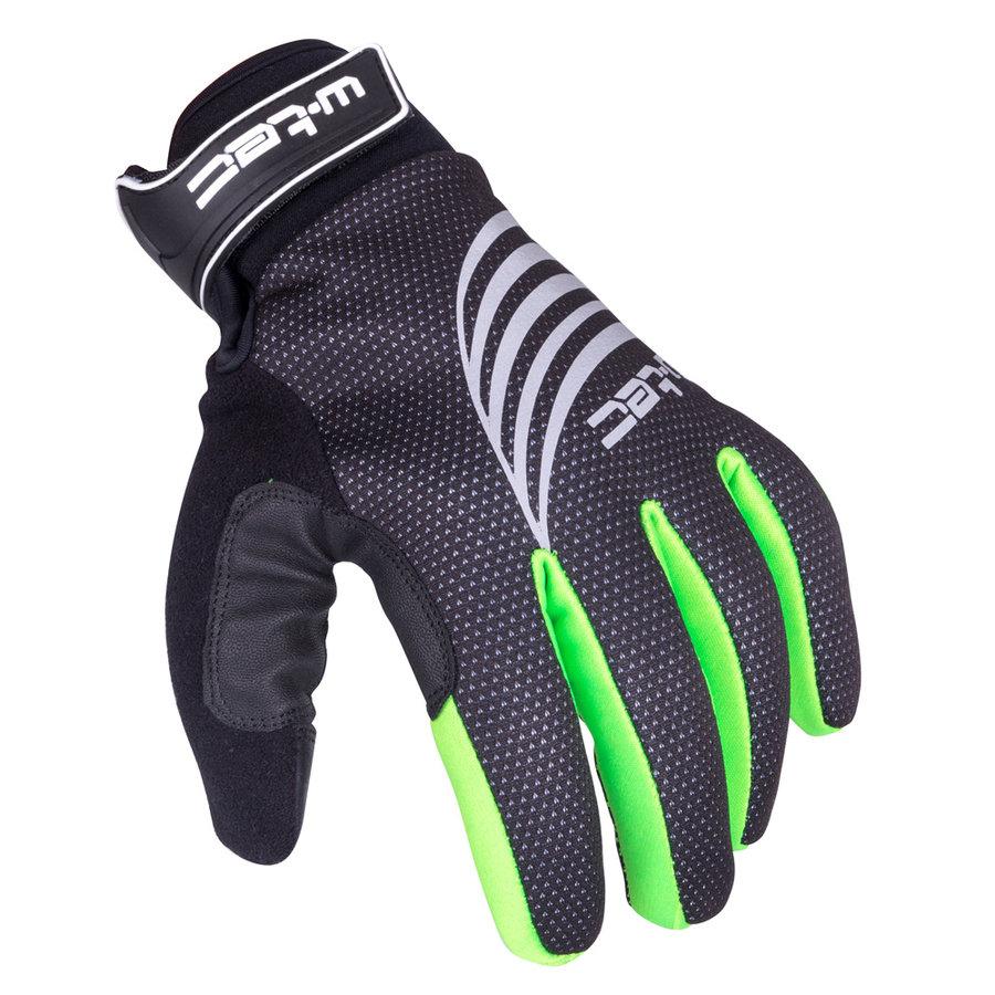 Černo-zelené polyesterové pánské nebo dámské rukavice na běžky W-TEC
