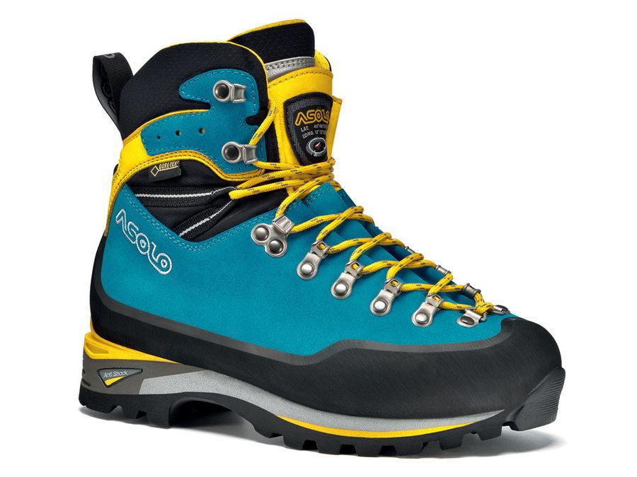 Modro-žluté dámské horolezecké boty Asolo