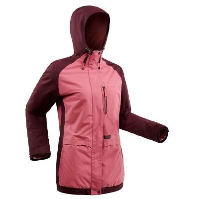 Červeno-růžová dámská snowboardová bunda Wed'ze
